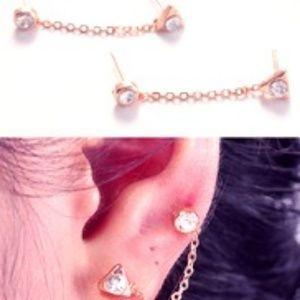 Jewelry - Silver Two Hole Piercing Cubic  Zirconia Earrings
